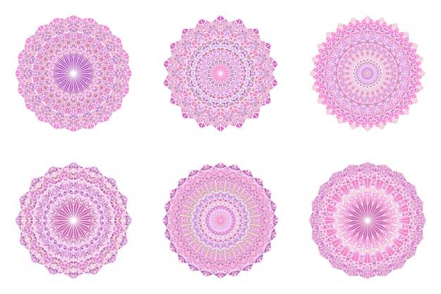 Zestaw ozdobny mandali okrągły trójkąt mozaiki