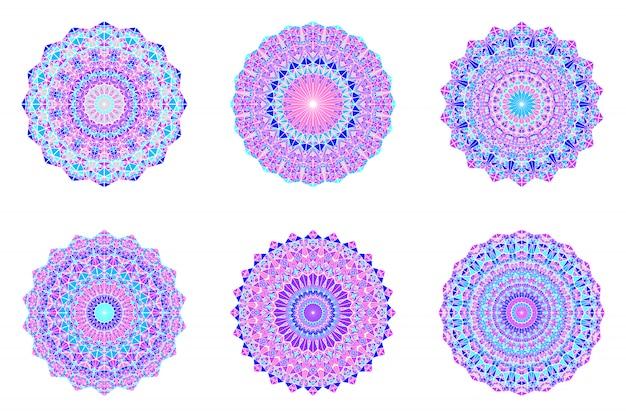 Zestaw ozdobny mandali ornament trójkąt