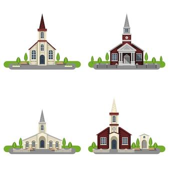 Zestaw ozdobny płaski ikona kościoła