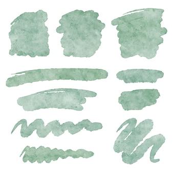Zestaw ozdobny wektor akwarela teksturowanej pociągnięcia pędzlem kształty. abstrakcyjne plamy farby artystycznej, linie. elementy projektu tła.