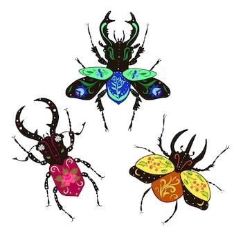 Zestaw ozdobnych chrząszczy na białym tle na białym tle. grafika.