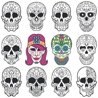 Zestaw ozdobnych ilustracji z cukrową czaszką na dzień zmarłych