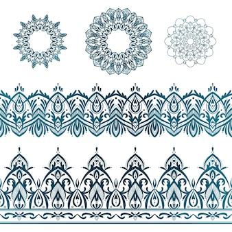 Zestaw ozdobnych mandale i ilustracje wektorowe granic