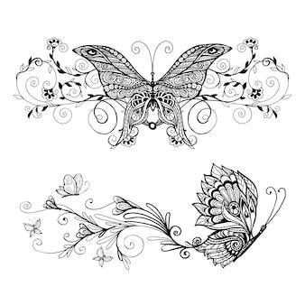 Zestaw ozdobnych motyli