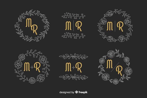 Zestaw ozdobnych ślub monogram
