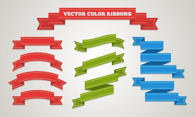 Zestaw ozdobnych wstążek prezentowych w stylu vintage.
