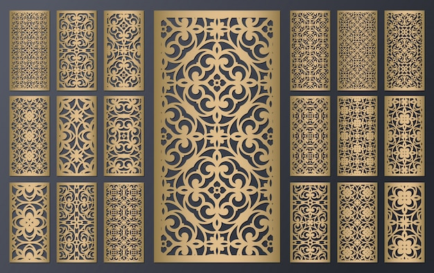 Zestaw ozdobnych wycinanych laserowo paneli. konstrukcja metalowa, rzeźba w drewnie