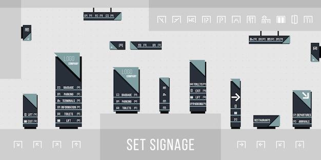 Zestaw oznakowania. kierunek, słup, uchwyt ścienny i oznakowanie systemu zestaw szablonów projektu. koncepcja oznakowania zewnętrznego i wewnętrznego. biuro pomnik zewnętrzny znak, znak pylonu. ilustracja.