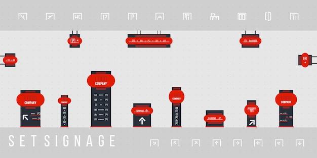 Zestaw oznakowania wektor. zestaw szablonów projektu systemu kierunkowego, słupowego, ściennego i oznakowania ruchu. koncepcja oznakowania zewnętrznego i wewnętrznego. biuro pomnik zewnętrzny znak, znak pylonu.
