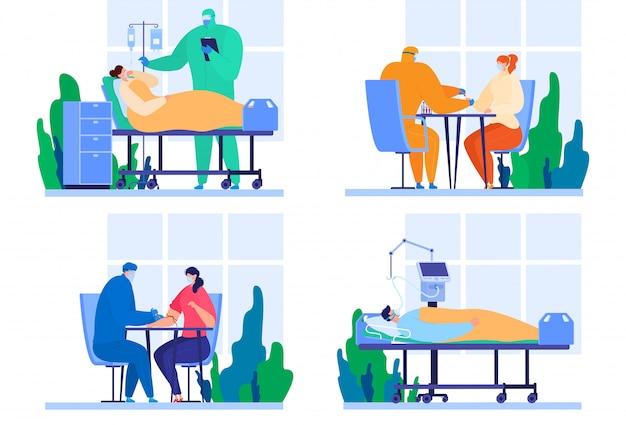 Zestaw pacjentów w szpitalu