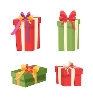 Zestaw paczek z niespodziankami w środku. ikony prezentów