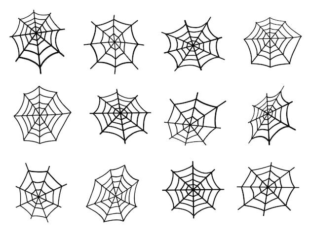 Zestaw pajęczyn. projekt na halloween. ilustracja wektorowa
