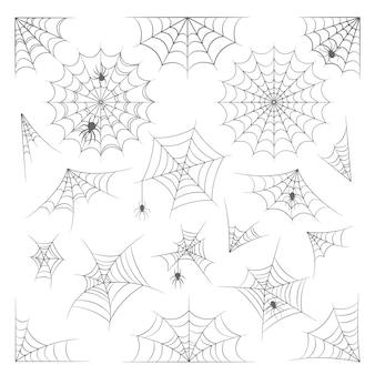 Zestaw pajęczyna, pajęczyna do dekoracji halloween, na białym tle kolekcja na białym tle. straszne pajęczyny, pająki