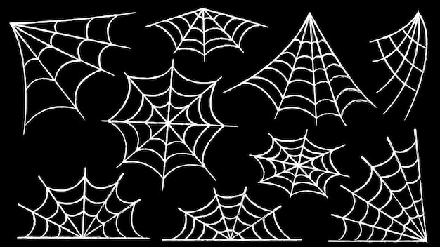 Zestaw pajęczyny. halloweenowa dekoracja z pająkami. przerażająca pajęczyna w opuszczonym miejscu. zarys i linia na białym tle ilustracji wektorowych.