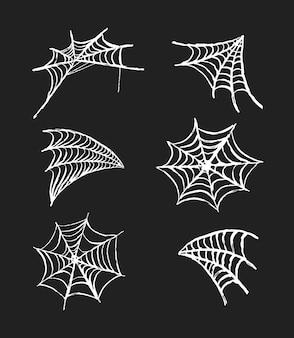 Zestaw pajęczyny. ręcznie rysowane elementy dekoracyjne pajęczyna do projektowania halloween. ilustracja wektorowa.