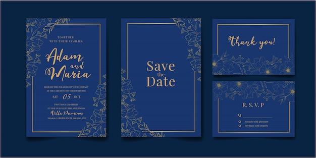 Zestaw pakiet karta zaproszenie na ślub ze złotym liściem kwiatowy kwiat