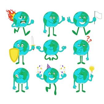 Zestaw, pakiet kolekcji uroczych szczęśliwych uśmiechniętych postaci z kreskówek planet z różnych sytuacji i emocji emoji.