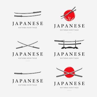 Zestaw pakiet logo miecz katana ninja samurai logo ikona vintage wektor ilustracja projekt japoński