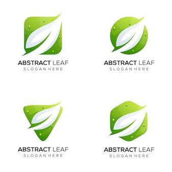 Zestaw pakietu logo streszczenie liść