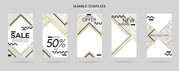 Zestaw pakietu szablonów opowieści społecznościowych z luksusową modną fakturą marmuru