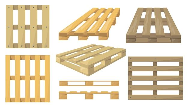 Zestaw palet drewnianych.
