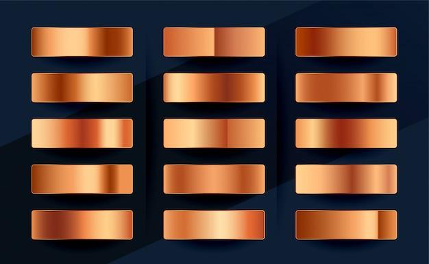 Zestaw palet gradientowych próbek miedzi lub różowego złota premium