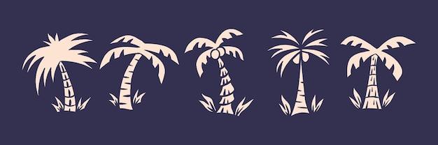 Zestaw palmy w tropikalnym miejscu z ilustracją w stylu retro