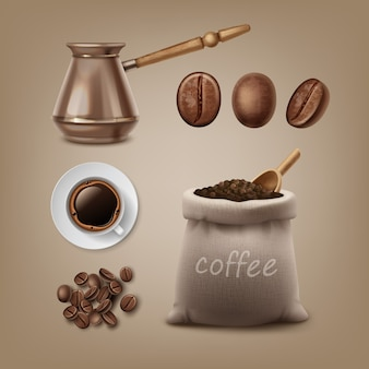 Zestaw palonych ziaren kawy i akcesoria w torebce jutowej