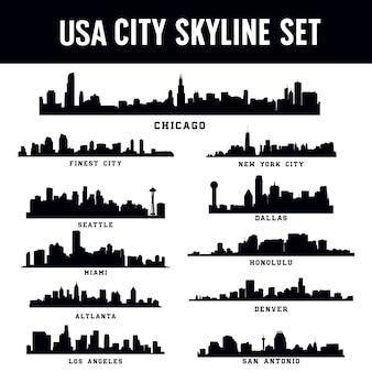 Zestaw panoramę miasta stany zjednoczone ameryki