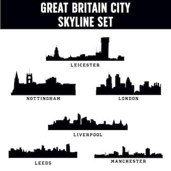 Zestaw panoramę miasta wielkiej brytanii
