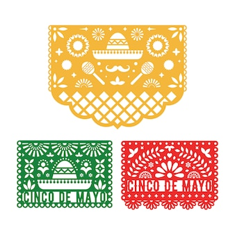 Zestaw papel picado, meksykańskie dekoracje papierowe dla cinco de mayo.