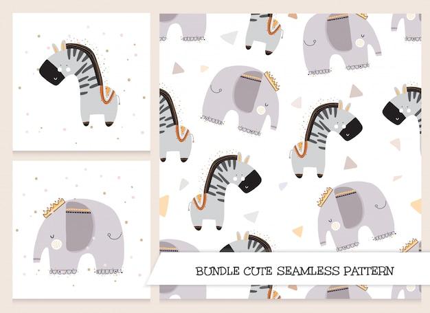 Zestaw papeterii ładny słoń i zebra