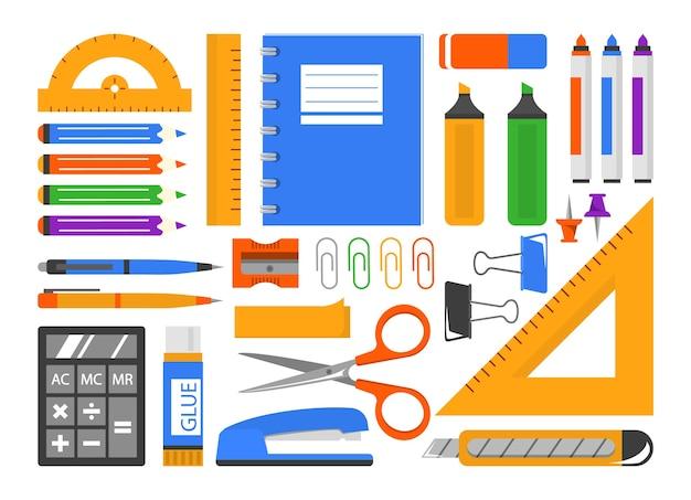 Zestaw papeterii. zbiór materiałów szkolnych i biurowych.