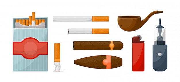 Zestaw papierosów i urządzeń do palenia.