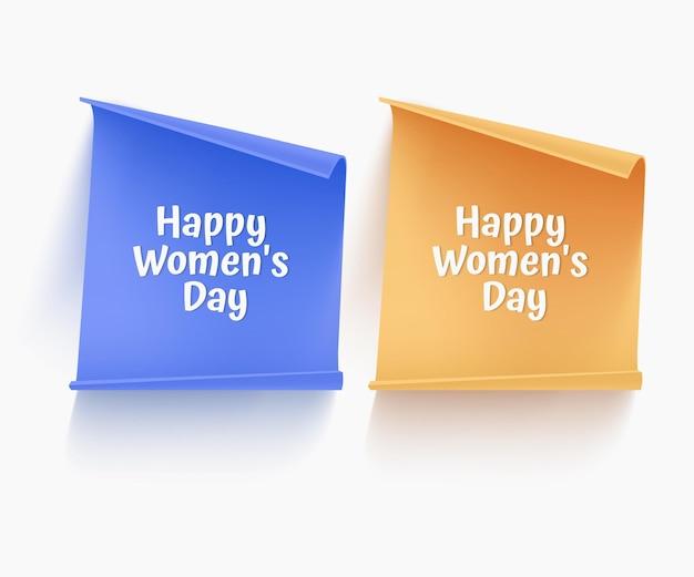 Zestaw papierowych banerów w kolorach niebieskim i żółtym na powitanie dnia kobiet