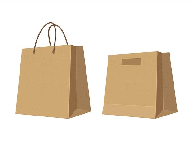Zestaw papierowych brązowych toreb na zakupy. ilustracja kolor płaski.