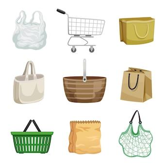 Zestaw papierowych i plastikowych toreb na zakupy, wózek na kółkach oraz worek sznurkowy