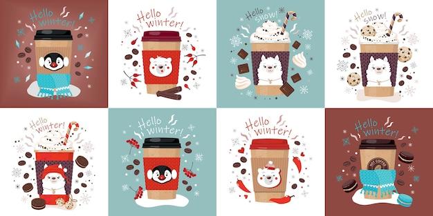 Zestaw papierowych kubków z gorącą kawą ozdobiony uroczymi buziami alpaki, misia, pingwina.