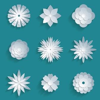 Zestaw papierowych kwiatów. 3d origami streszczenie kwiat ikony ilustracji