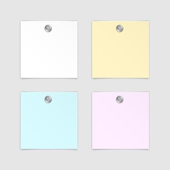 Zestaw papierowych naklejek sticky note post memo label na białym tle