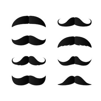 Zestaw papierowych wąsów. czarna sylwetka wąsów. element dekoracyjny dzień ojców. izolowany wektor