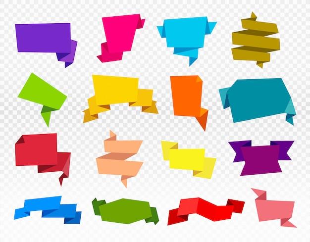 Zestaw papierowych wstążek. wstążka origami na białym tle
