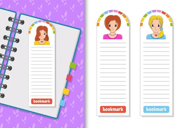 Zestaw papierowych zakładek do książek z postaciami z kreskówek.