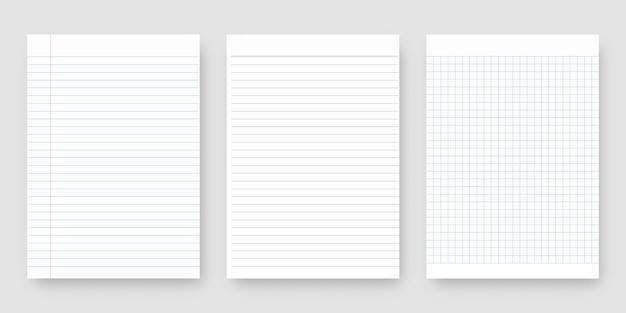 Zestaw papieru do notatnika. arkusz papieru w linie