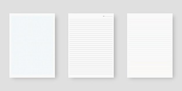 Zestaw papieru do notatnika. arkusz szablonu papieru w linie. odosobniony. projekt szablonu. realistyczna ilustracja.