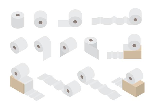 Zestaw papieru toaletowego. produkt higieniczny do toalety. płaski styl izometryczny. rolka białego papieru. ilustracja wektorowa.