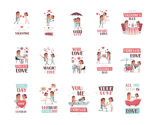 Zestaw para zakochanych dziewczyna i chłopak zabawy koncepcja walentynki uroczystości kartki okolicznościowe zaproszenia kolekcja plakatów pełnej długości poziomej ilustracji