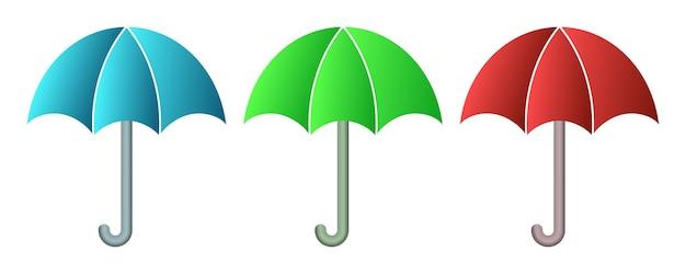 Zestaw parasol na białym tle