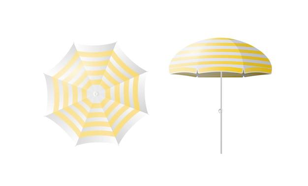 Zestaw parasol plażowy izolowany na białym tle