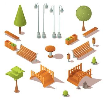 Zestaw parkowy izometryczny. ławki, drzewa, drewniane mosty